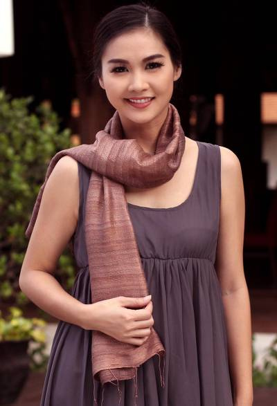 Silk scarf, 'Bold Spice' - Unique Silk Scarf from Thailand