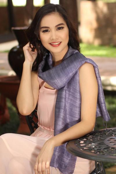 Silk scarf, 'Bold Lily' - Purple Silk Scarf