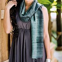 Silk scarf, 'Bold Teal' - Handmade Silk Scarf from Thailand