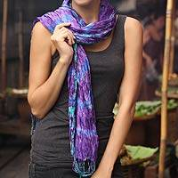 Tie-dyed scarf, 'Smoky Lily' - Hand Made Tie-dyed Scarf