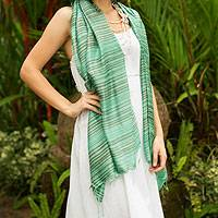 Silk shawl, 'Mint Melody' - Fair Trade Silk Shawl