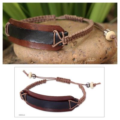 Leather wristband bracelet, 'Black Band' - Leather Wristband Bracelet