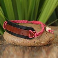 Leather wristband bracelet, 'Brown Band' - Leather Wristband Bracelet