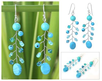 Beaded dangle earrings, 'Thai Skies' - Turquoise Colored Dangle Earrings