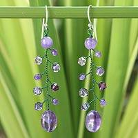 Amethyst dangle earrings, 'Thai Orchids' - Beaded Amethyst Earrings from Thailand