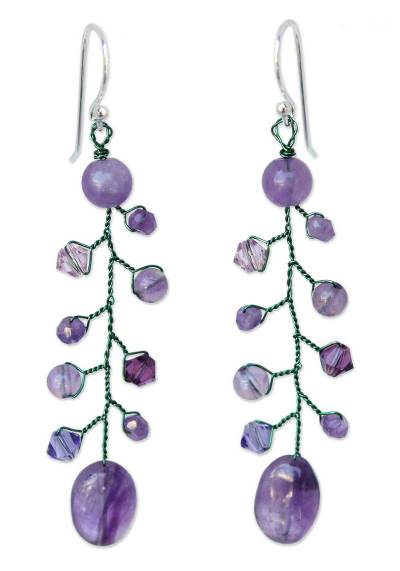 Beaded Amethyst Earrings from Thailand