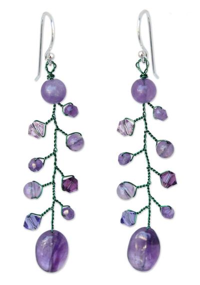 Amethyst dangle earrings, 'Thai Orchids' - Beaded Amethyst Earrings from Thailand