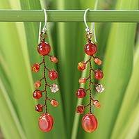 Carnelian dangle earrings, 'Thai Sun' - Unique Thai Carnelian and Sterling Silver Earrings