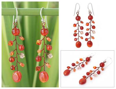 Carnelian dangle earrings, 'Thai Sun' - Handcrafted Beaded Carnelian Earrings