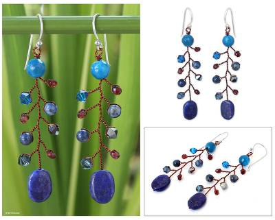 Lapis lazuli dangle earrings, 'Thai Seas' - Unique Beaded Lapis Lazuli and Agate Earrings