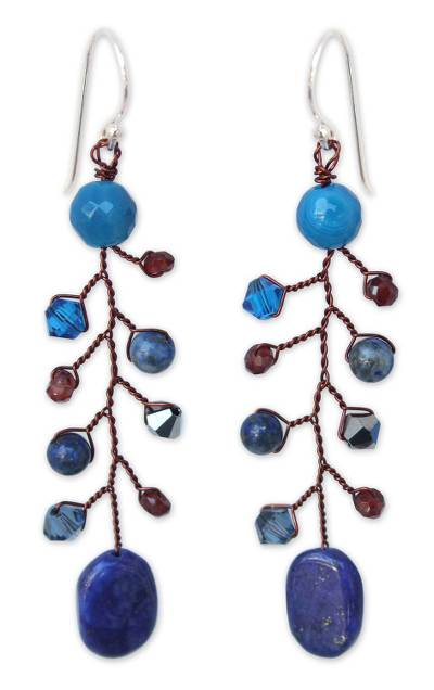Unique Beaded Lapis Lazuli and Agate Earrings