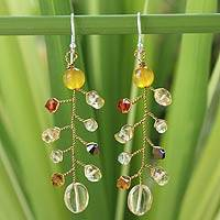 Citrine dangle earrings, 'Thai Soul' - Thai Beaded Citrine Earrings