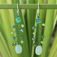 Beaded dangle earrings, 'Thai Forest'