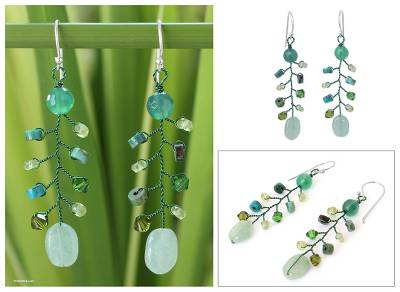Beaded dangle earrings, 'Thai Forest' - Agate and Quartz Earrings