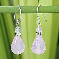 Rose quartz dangle earrings, 'Feminine Pink' - Handcrafted Rose Quartz Dangle Earrings