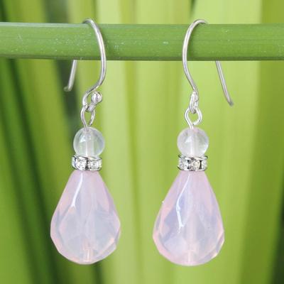 Rose quartz dangle earrings, 'Feminine Pink' - Handcrafted Rose Quartz Dangle Earrings