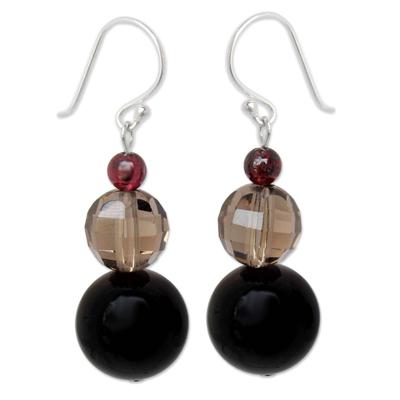 Garnet and Smoky Quartz Dangle Earrings