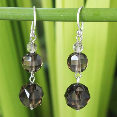 Smoky quartz dangle earrings, 'Chiang Mai Evening' - Handcrafted Smoky Quartz Dangle Earrings