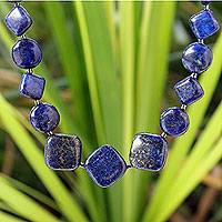 Lapis lazuli beaded necklace, 'Forever Blue'