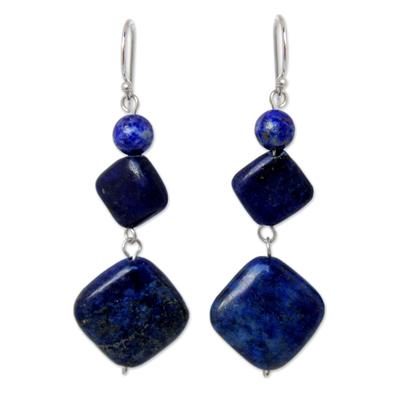 Lapis lazuli dangle earrings, 'Forever Blue' - Unique Thai Lapis Lazuli Dangle Earrings