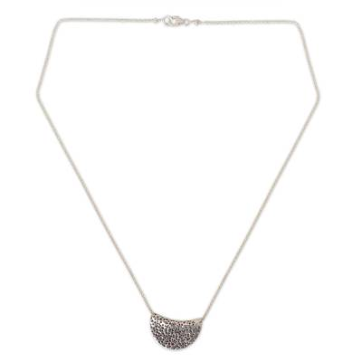Silver pendant necklace, 'Wishing Moon' - Hand Crafted Silver Pendant Necklace