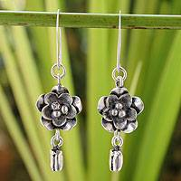 Silver flower earrings, 'Blossoming Hope' - Silver flower earrings