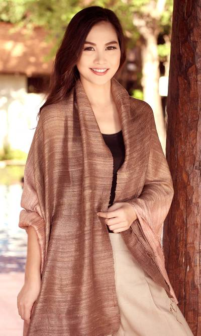 Silk shawl, 'Bold Spice' - Handcrafted Thai Silk Patterned Shawl