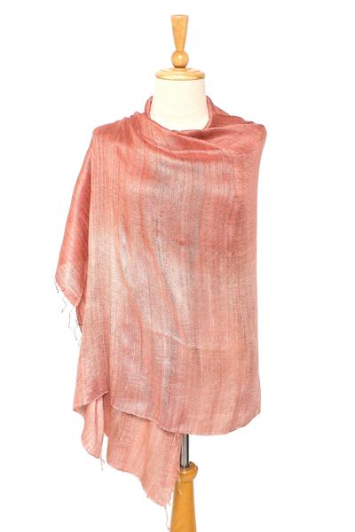 Silk shawl, 'Bold Rose' - Handcrafted Silk Shawl