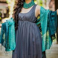 Silk shawl, 'Bold Teal'