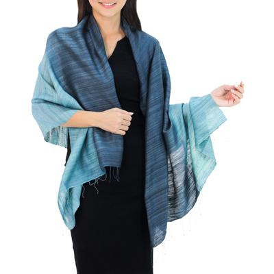 Silk shawl, 'Bold Teal' - Handcrafted Silk Shawl