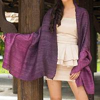 Silk shawl, 'Bold Violet' - Unique Silk Shawl