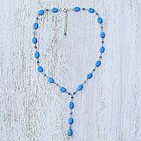 Beaded Y necklace, 'Gumdrops' - Hand Crafted Turquoise Colored Y Necklace