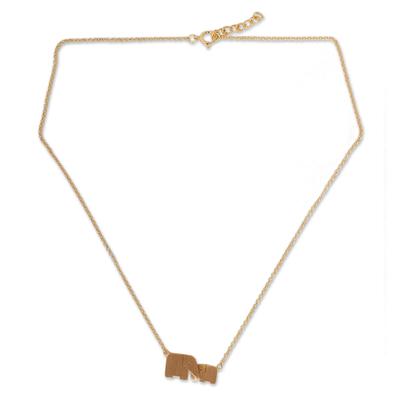 Gold vermeil pendant necklace, 'Family Love' - Gold Vermeil Elephant Necklace