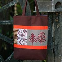 Cotton batik shoulder bag, 'Love of Nature' - Handcrafted Cotton Tote Bag
