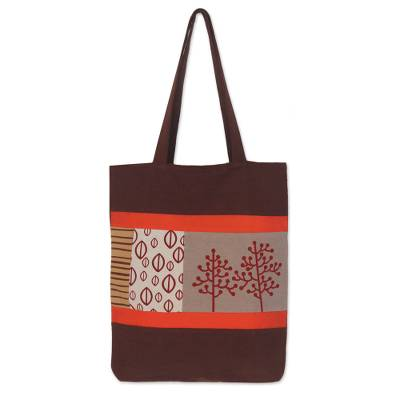 Novica Cotton handbag, Orange Zest - Hand Made Cotton Tote Bag