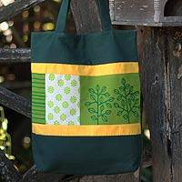 Cotton batik shoulder bag, 'Love of the Forest' - Handcrafted Cotton Tote Handbag