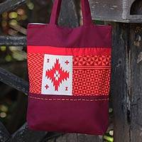 Cotton shoulder bag, 'Purple Geometry Stars' - Women's Handcrafted Cotton Sangria Shoulder Bag