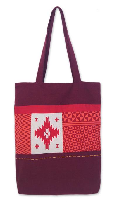 Novica Cotton tote handbag, Foliage and Stars