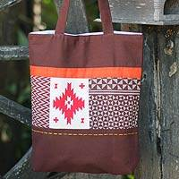 Cotton shoulder bag, 'Brown Geometry Stars' - Handmade Geometric Cotton Shoulder Bag