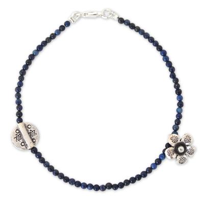 Lapis lazuli beaded bracelet, 'Hill Tribe River' - Hill Tribe Silver and Lapis Lazuli Bracelet