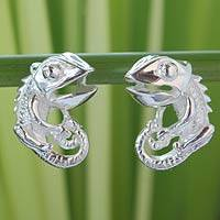 Sterling silver button earrings, 'Smiling Lizard' - Sterling silver button earrings