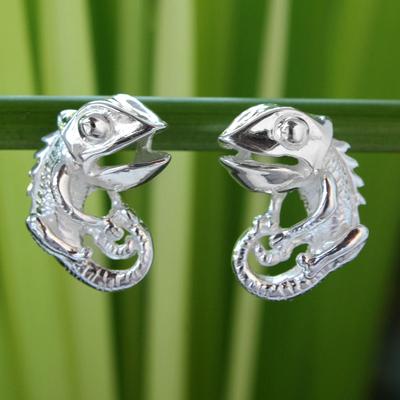 Sterling silver button earrings, 'Smiling Lizard' - Sterling silver button earrings