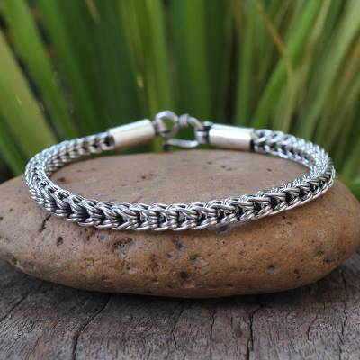 Sterling silver chain bracelet, 'Intricate Textures' - Sterling Silver Braided Bracelet
