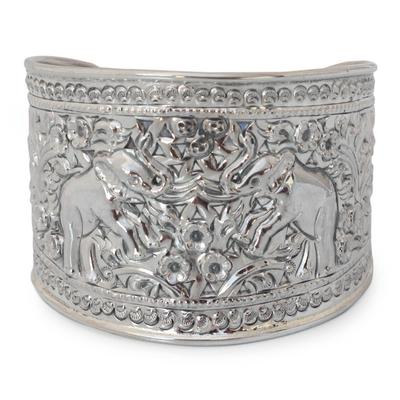 Sterling silver cuff bracelet, 'Elephant Roses' - Hand Made Sterling Silver Cuff Bracelet