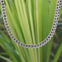 Sterling silver chain necklace, 'Intricate Textures'