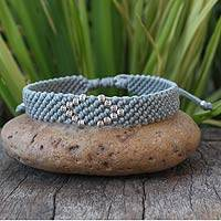 Silver accent wristband bracelet, 'Hill Tribe Gray' - Hill Tribe Silver Wristband Bracelet