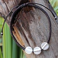 Silver accent braided bracelet, 'Three Sisters'