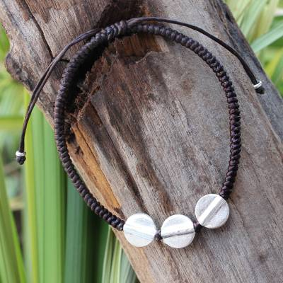 Silver accent braided bracelet, 'Three Sisters' - Unique Hill Tribe Silver Braided Bracelet