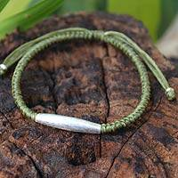 Silver accent braided bracelet, 'Peaceful Jungle'