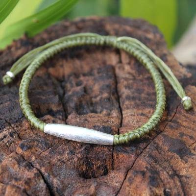 Silver accent braided bracelet, 'Peaceful Jungle' - Hill Tribe Silver Braided Bracelet